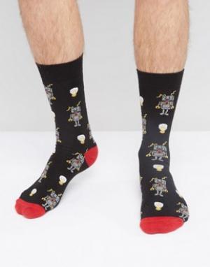 Urban Eccentric Черные носки с принтом. Цвет: черный