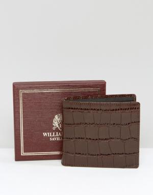 William Hunt Коричневый кожаный бумажник. Цвет: коричневый