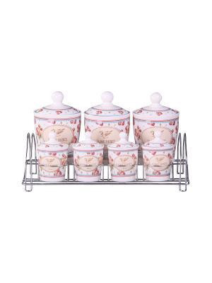Набор банок на металлической подставке 7 предметов (800 мл., 200 мл.), шт PATRICIA. Цвет: розовый