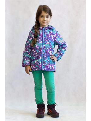 Куртка Oldos. Цвет: бирюзовый,сиреневый