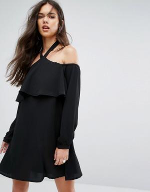 Outrageous Fortune Платье с открытыми плечами и длинными рукавами. Цвет: черный