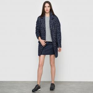 Пальто с узорной вязкой SUD EXPRESS. Цвет: синий меланж