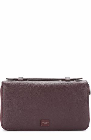 Кожаный футляр для документов Dolce & Gabbana. Цвет: бордовый