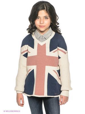Пуловер PEPE JEANS LONDON. Цвет: молочный, синий