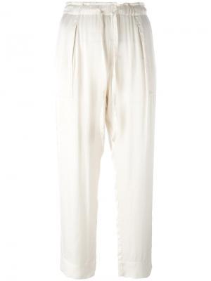 Укороченные брюки на шнурке Raquel Allegra. Цвет: телесный