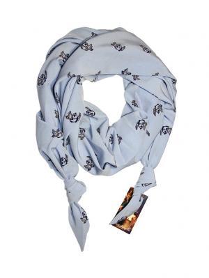 Двойной шарф-долька с узелками; серия Сингапур Оланж Ассорти. Цвет: черный, серо-голубой