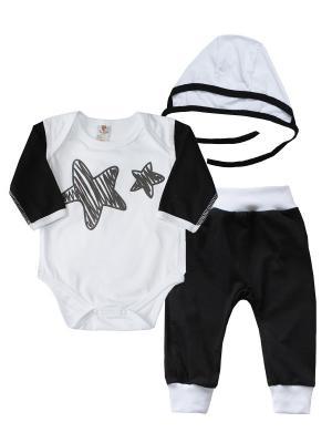 Набор одежды: боди, штанишки, чепчик КОТМАРКОТ. Цвет: белый, черный