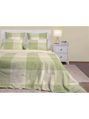 Семейное постельное белье. Бязь люкс. Хлопковый Край. Цвет: серо-зеленый, молочный