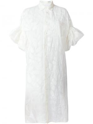 Платье-рубашка с принтом перьев Junya Watanabe Comme Des Garçons. Цвет: белый