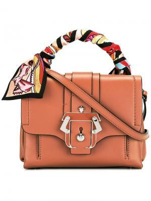 Сумка-тоут с разноцветным шарфом Paula Cademartori. Цвет: коричневый