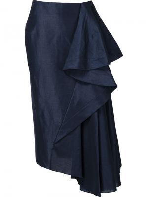 Длинная драпированная юбка Esteban Cortazar. Цвет: синий