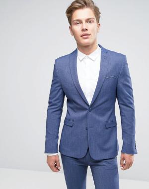 ASOS Джинсовый пиджак скинни WEDDING. Цвет: синий