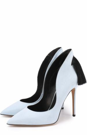 Замшевые туфли Louisa с бахромой Aleksandersiradekian. Цвет: голубой