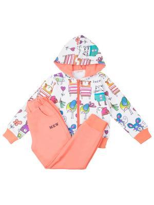 Спортивный костюм для девочки 7 одежек. Цвет: персиковый, белый