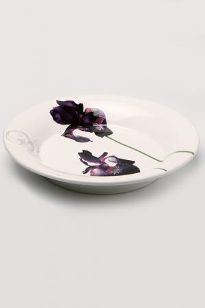 Суповая тарелка Черный ирис Ceramiche Viva. Цвет: белый