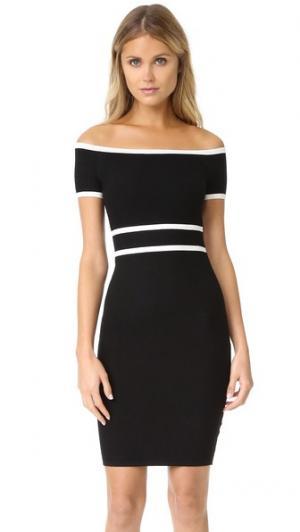 Платье-свитер с открытыми плечами Ali & Jay. Цвет: черный/белый