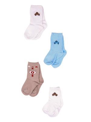 Носки, 4 пары Malerba. Цвет: голубой, бежевый