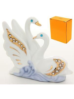 Фигурка декоративная Белые лебеди со стразами Elan Gallery. Цвет: белый, голубой, золотистый