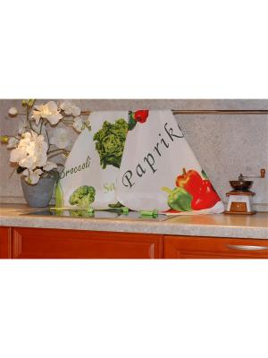 Набор печатных полотенец 2 штуки SET-3  (Перцы, Брокколи) в пакете ТекСтиль для дома. Цвет: белый, желтый, зеленый, красный, салатовый