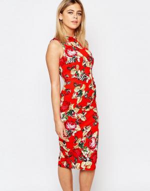 Vesper Платье-футляр с цветочным принтом. Цвет: оранжевый