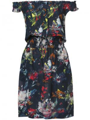 Printed off shoulder dress Tomas Maier. Цвет: синий