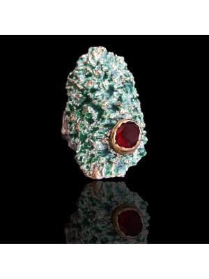 Кольцо Диковинка. Цвет: золотистый, зеленый, серебристый, красный