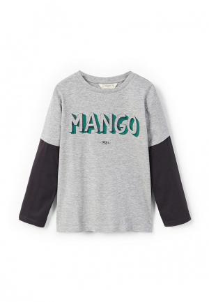 Лонгслив Mango Kids. Цвет: серый