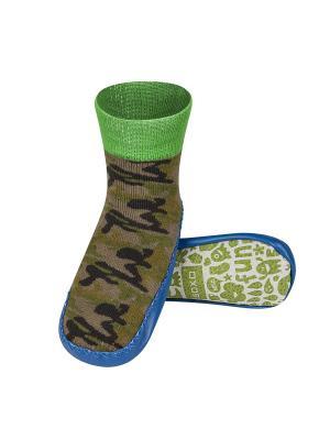 Тапочки-носочки детские SOXO. Цвет: зеленый, темно-коричневый, хаки, оливковый, голубой