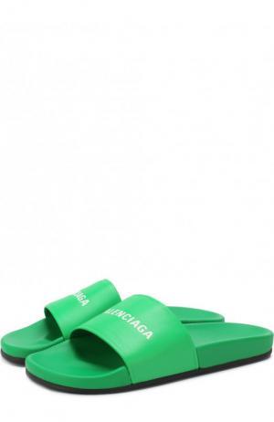 Кожаные шлепанцы с логотипом бренда Balenciaga. Цвет: зеленый