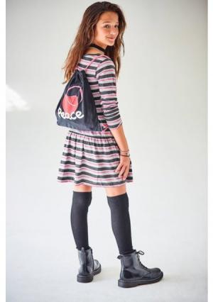 Комплект: платье + рюкзак. Цвет: черный/белый/розовый в полоску