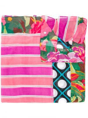 Шарф с цветочным принтом Twin-Set. Цвет: розовый и фиолетовый