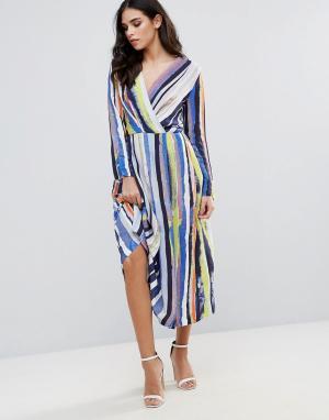 Closet London Платье-рубашка в полоску. Цвет: мульти
