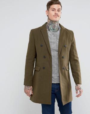 Bellfield Двубортное пальто с добавлением шерсти. Цвет: зеленый