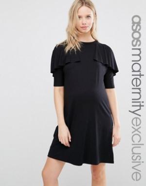 ASOS Maternity Платье-футболка для беременных. Цвет: черный