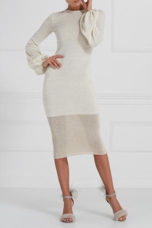 Трикотажное платье с люрексом A LA RUSSE. Цвет: бежевый