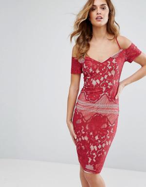 Girl In Mind Кружевное платье миди с широким вырезом и бретельками. Цвет: красный