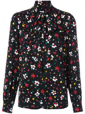 Блузка с воротником на завязке и цветочным узором Marc Jacobs. Цвет: чёрный