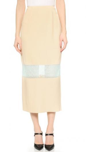 Кружевная юбка с окантовкой Wes Gordon. Цвет: золотой