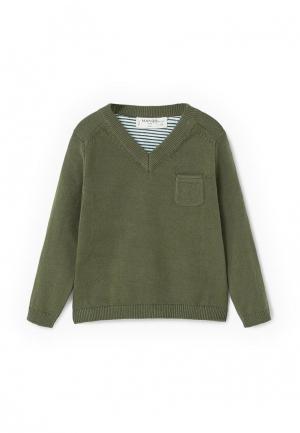 Пуловер Mango Kids. Цвет: зеленый