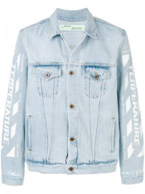 Джинсовая куртка с графическим принтом Off-White. Цвет: синий