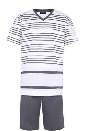 Хлопковая пижама с шортами Hanro. Цвет: серый