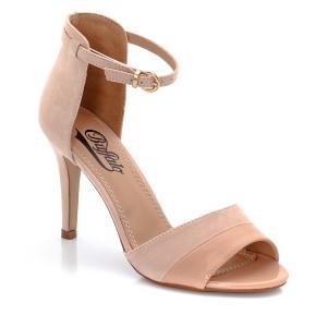 Босоножки из кожи на каблуке BUFFALO. Цвет: бежевый