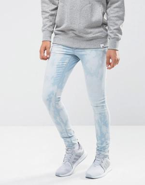 ASOS Выбеленные джинсы скинни. Цвет: синий