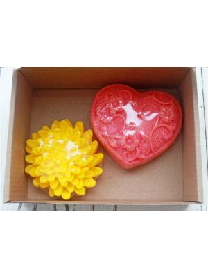 Набор хризантема и вязанное сердце Entourage. Цвет: розовый