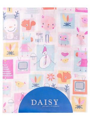 Пеленка Хлопок 90х150 см Мультяшки роз DAISY. Цвет: серый, салатовый, светло-желтый, коралловый, розовый, белый