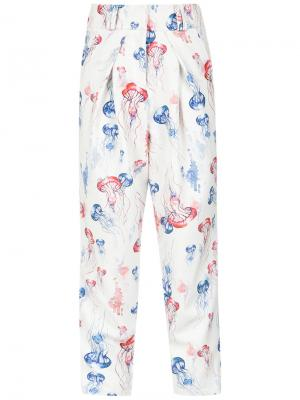 Printed tapered trousers Olympiah. Цвет: белый