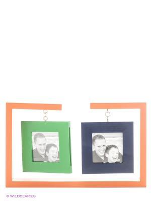 Фоторамка для двух фотографий 8Х8 Drops VELD-CO. Цвет: темно-синий, зеленый, оранжевый