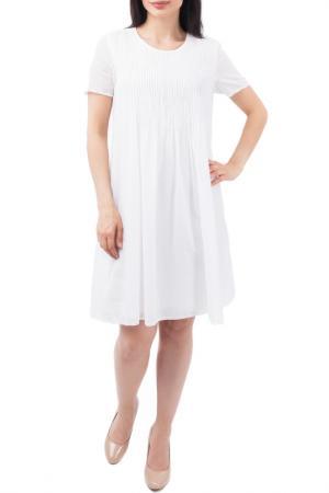 Свободное платье с декоративной отстрочкой EUROPEAN CULTURE. Цвет: белый