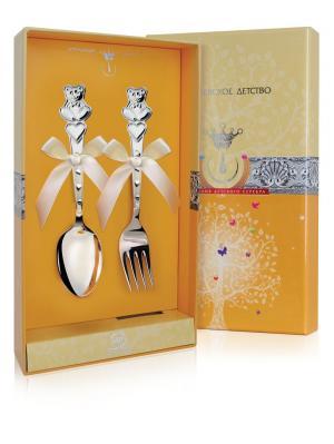 Набор детский Мишка с сер (2 предмета: ложка+вилка)+футляр АргентА. Цвет: серебристый