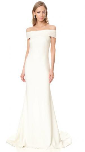 Вечернее платье из крепа с открытыми плечами Theia. Цвет: золотой